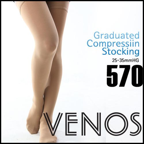 M [VENOS] 베노스 무광택 밴드(허벅지형) 압박스타킹 25-35mmHG 360데니아 압박스타킹No.570
