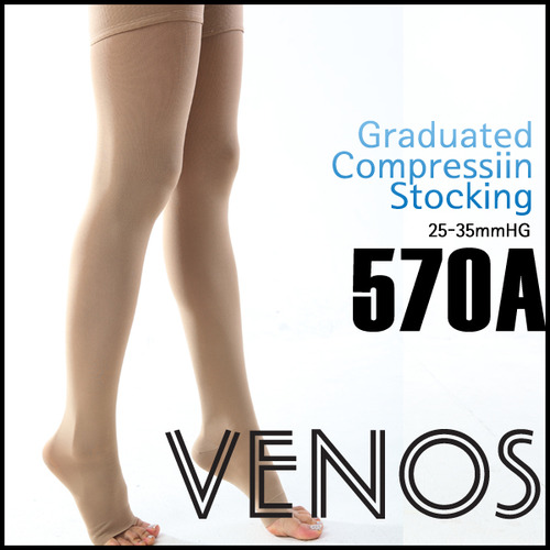 M [VENOS] 베노스 무광택 밴드(허벅지형) 압박스타킹_발가락노출형 25-35mmHG 360데니아 압박스타킹/ No.570A