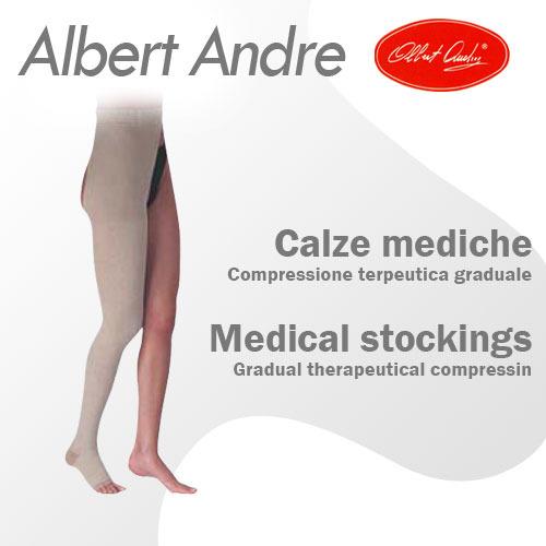 M [AlbertAndre] 알베르트앙드레 한쪽다리 허벅지형 발가락노출형 좌/우 선택 30-40mmHg 압박스타킹 No.642