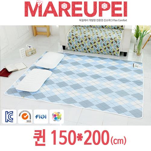 M [MAREUPEI] 마르페이 3D매쉬 에어매트 0.5cm (디자인매트 블루) 퀸 150*200(cm)