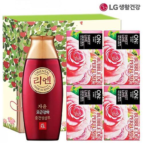 M [LG생활건강] 리엔 한방샴푸 자윤비책 200ml*1개입 + 온더바디 비누*4개입 (선물케이스)