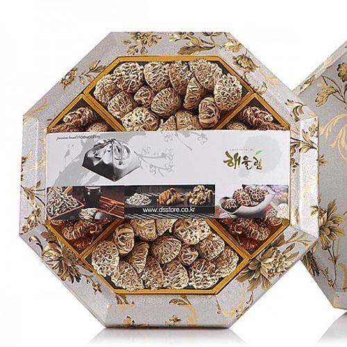 M [해울림] 버섯세트 팔각한지함 7호 선물세트 (화 고 110g x 2ea 백화고 110g x 2ea)