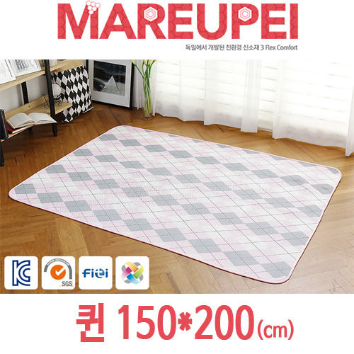 M [MAREUPEI] 마르페이 3D매쉬 에어매트 0.5cm (디자인매트 핑크) 퀸 150*200(cm)