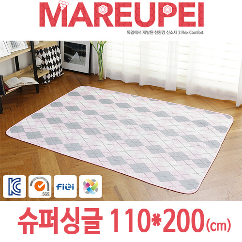 M [MAREUPEI] 마르페이 3D매쉬 에어매트 0.5cm (디자인매트 핑크) 슈퍼싱글 110*200(cm)