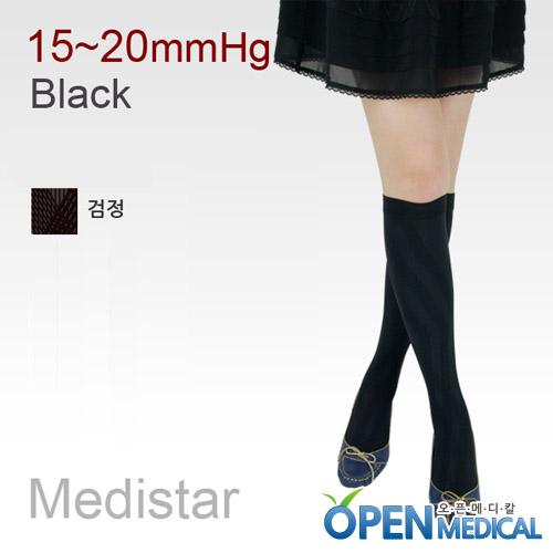 M [MEDISTAR] 메디스타 패션 압박스타킹 무릎형/블랙 (중약압 15~20mmHg)