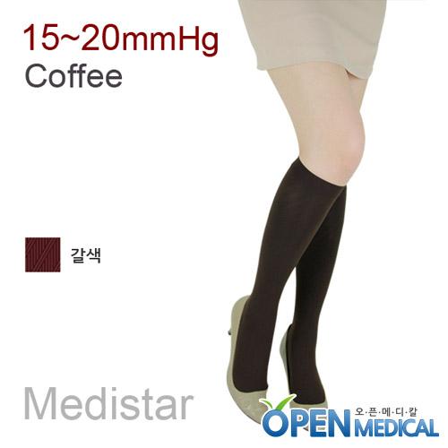 M [MEDISTAR] 메디스타 패션 압박스타킹 무릎형/갈색 (중약압 15~20mmHg)