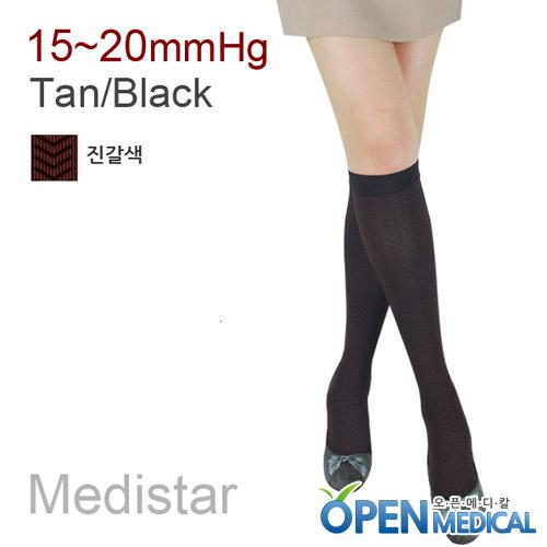 M [MEDISTAR] 메디스타 패션 압박스타킹 무릎형/짙은갈색 (중약압 15~20mmHg)