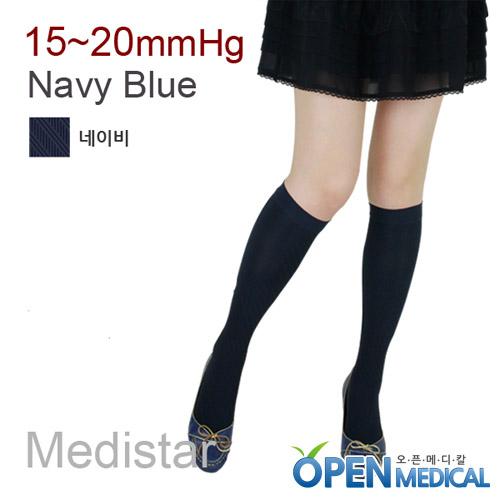 M [MEDISTAR] 메디스타 패션 압박스타킹 무릎형/네이비 (중약압 15~20mmHg)