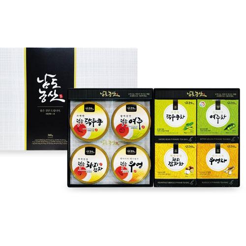 M [남도농산] 남도농산 선물세트 1호 (티백차4종+덖음4종으로 구성)