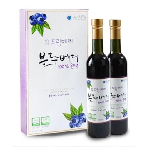 M [자연생기] 고흥 드림베리 블루베리엑기스 500ml x 2병 (선물세트)