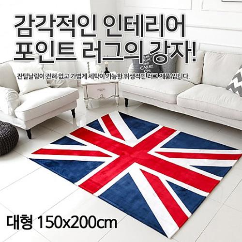 M [미래앤데코] 유니크 UK 영국기 극세사 러그 카페트 대형 150x200cm