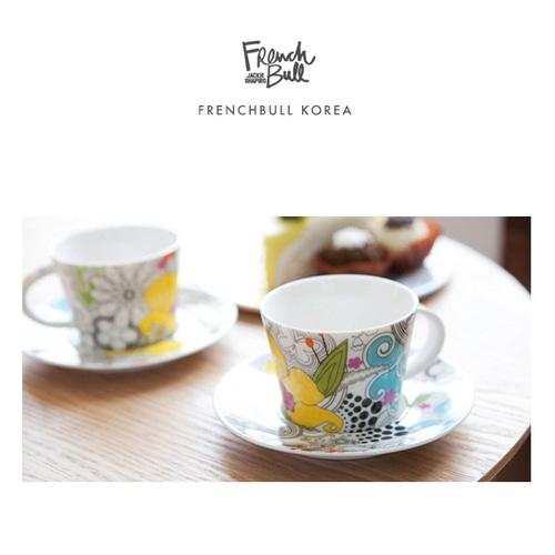 M [프렌치불] 뉴 본차이나 도자기 커피잔 2인조