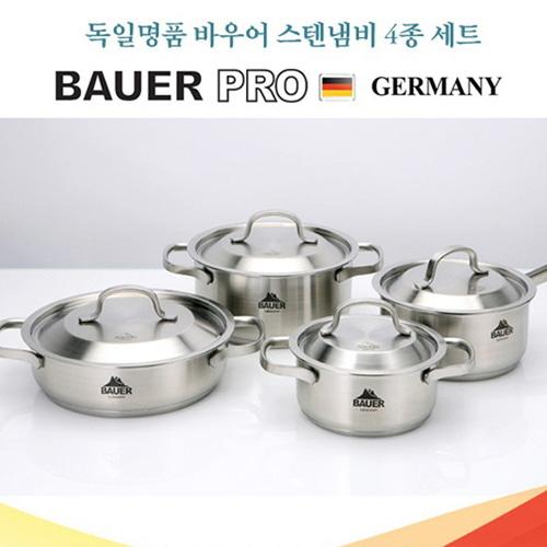 M [BAUER PRO GERMANY] 독일 바우어 프로 스텐냄비 4종 세트 (14양수, 16편수, 18양수, 20전골)