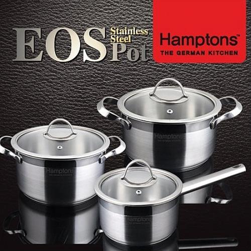 M [Hamptons]독일 햄튼 EOS 인덕션 3중 바닥 냄비3종세트(편수16cm+양수 18cm+양수20cm)