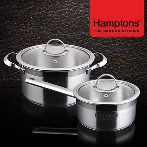 M [Hamptons]독일 햄튼 EOS 인덕션 3중 바닥 냄비2종세트(편수16cm+양수 20cm)