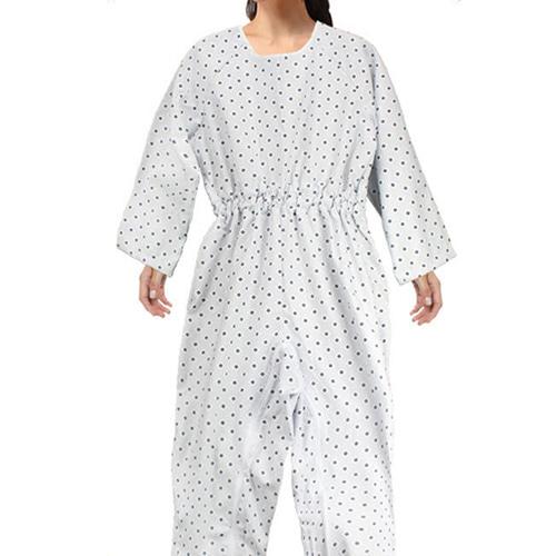 M [YN] 치매환자용 지퍼형 환자 우주복 (블루꽃무늬)