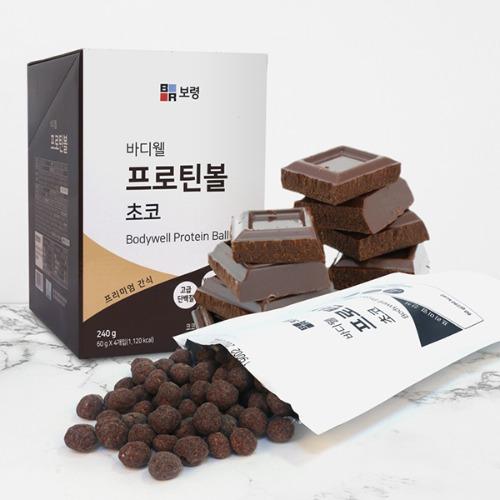 M 바디웰 프로틴볼 초코맛 60g x 4팩 - 유청단백질