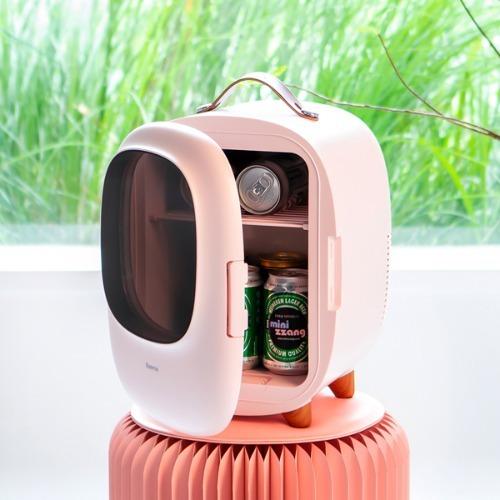 M 미니짱 미니냉장고 8리터 MZ-08 핑크 - 냉온장고겸용