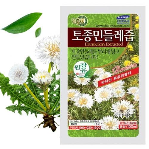 M [참토식품] 국내산100% 참유원 토종흰민들레즙 100ml 60팩+5팩 (선물포장)
