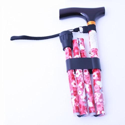 M 홈케어 3단 접이식 알루미늄 지팡이 B006-606S-1060 단풍꽃무늬