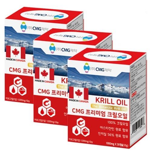 M CMG 프리미엄 크릴오일 (1000mg x 30캡슐) 3박스